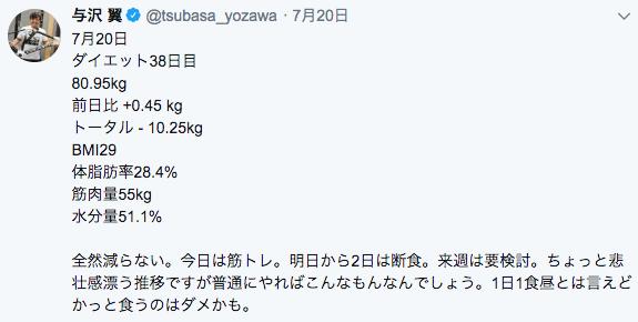 与沢翼ダイエット38日目