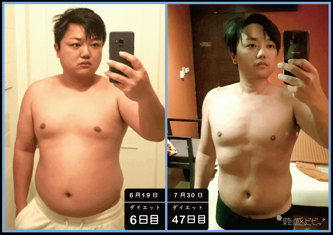 与沢翼ダイエット初期画像との比較