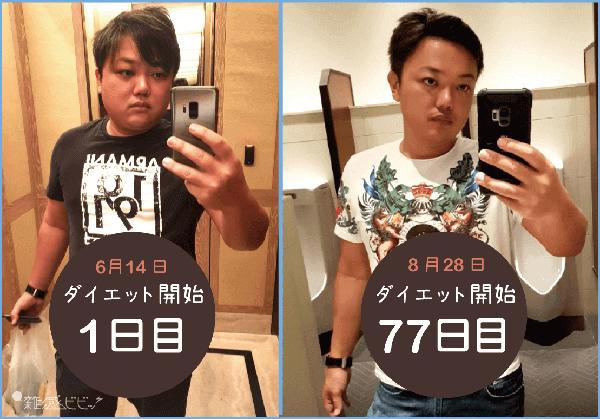 与沢翼ダイエット初期との比較画像