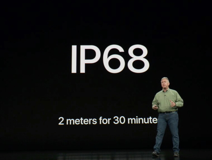 iPhoneXS の耐水性IP68
