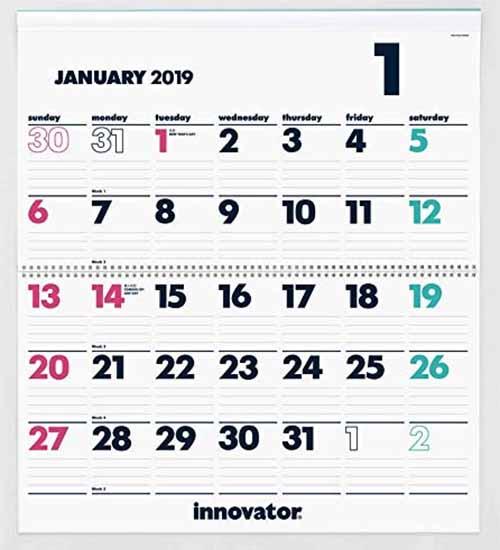 2019年ガッチリしてシンプルなカレンダー5-1