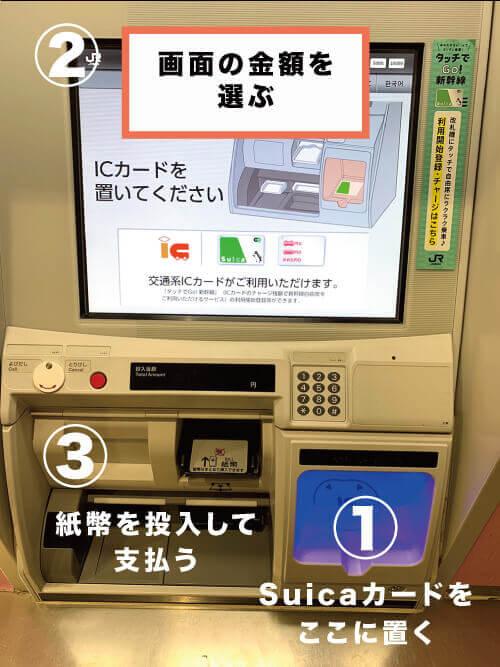 Suicaカードをチャージする手順の解説画像