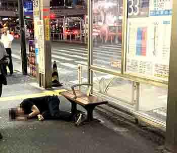 渋谷で倒れている人