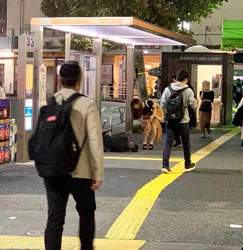 渋谷で生存確認をする女性