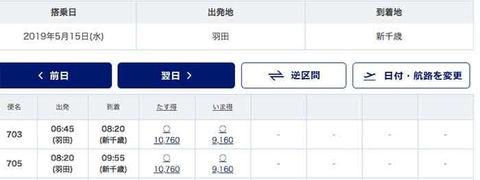 トラベルコと各旅行サイト航空券比較その2:SKYMARK_1