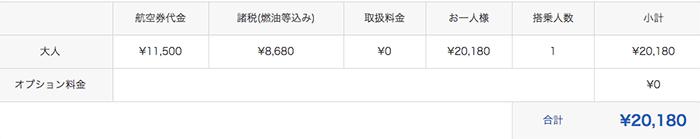 トラベルコと国際線航空チケットの料金比較その3:スカイチケット